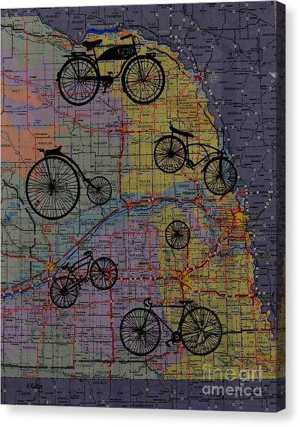 For The Love Of Cycling Canvas Print by Kathleen Keller