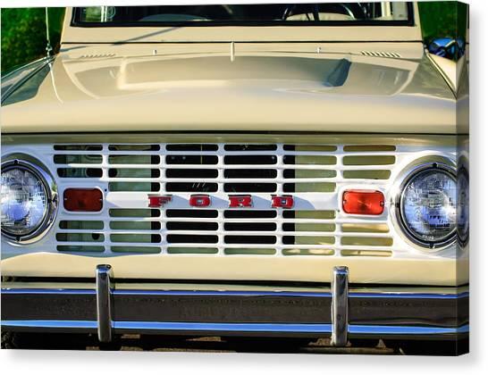 Bronco Canvas Print - Ford Bronco Grille Emblem -0014c by Jill Reger