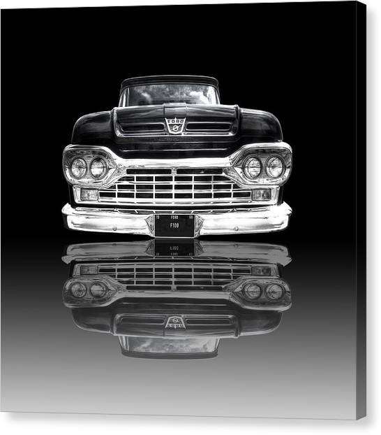 Truck Driver Canvas Print - Ford F100 Truck Reflection On Black by Gill Billington