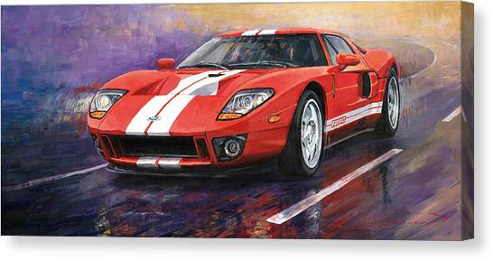 Sports Cars Canvas Print - Ford Gt 2005 by Yuriy Shevchuk