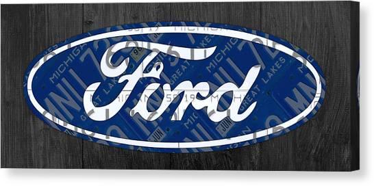 Motors Canvas Print - Ford Motor Company Retro Logo License Plate Art by Design Turnpike