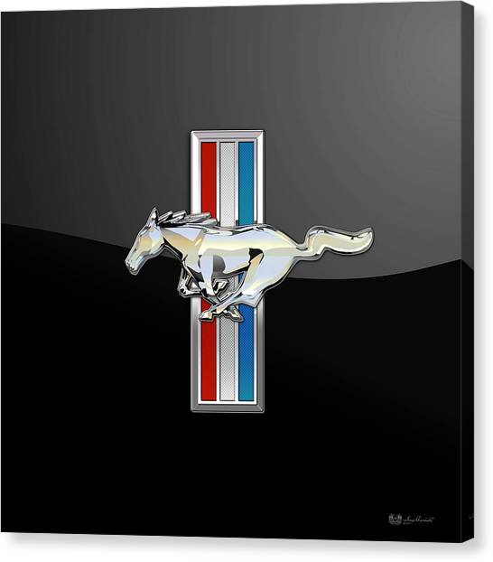 Ford Mustang - Tri Bar And Pony 3 D Badge On Black Canvas Print
