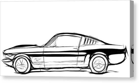 Classic Car Drawings Canvas Print - Ford Mustang Classic by Steve K