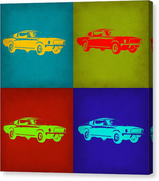 Muscles Canvas Print - Ford Mustang Pop Art 1 by Naxart Studio