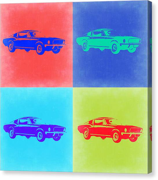 Ponies Canvas Print - Ford Mustang Pop Art 2 by Naxart Studio
