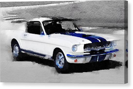 Transportation Canvas Print - Ford Mustang Shelby Watercolor by Naxart Studio