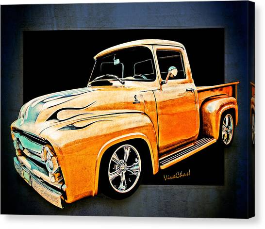 Ford Pickup In Flaming Gold Canvas Print
