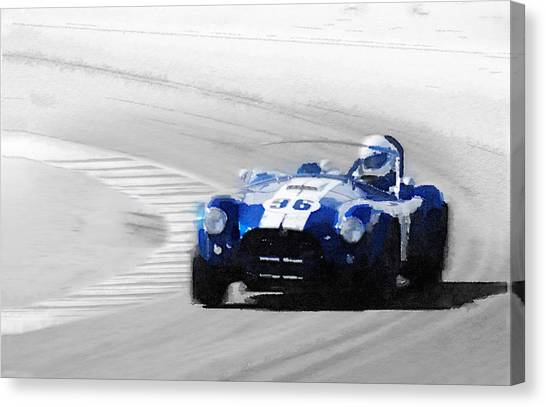 Cobras Canvas Print - Ford Shelby Cobra Laguna Seca Watercolor by Naxart Studio