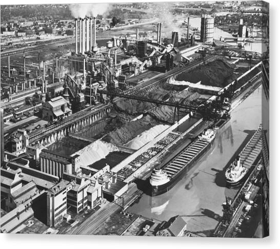 Ore Canvas Print - Ford's River Rouge Plant by Underwood Archives