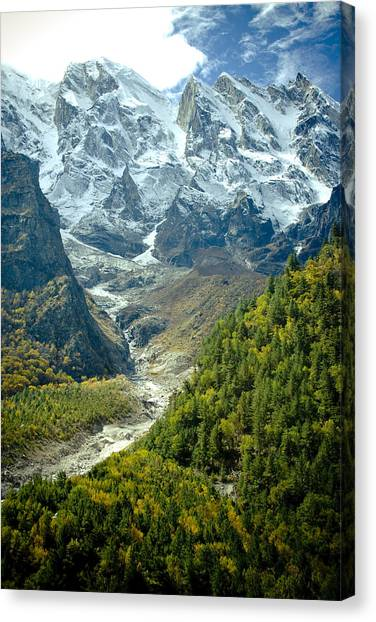 Forest And Mountains In Himalayas Canvas Print