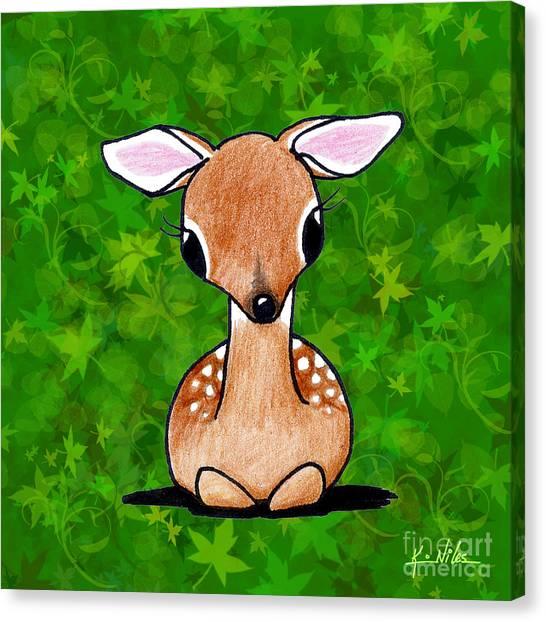 Cute Fawn Canvas Print - Forest Fawn by Kim Niles