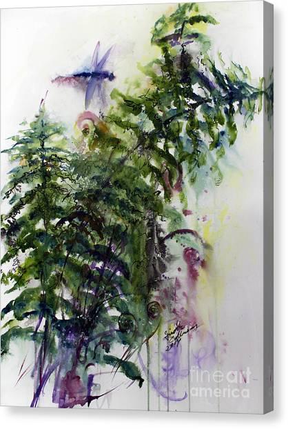 Forest Fern And Dragonfly Canvas Print