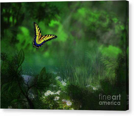 Forest Glade Butterfly Background Canvas Print