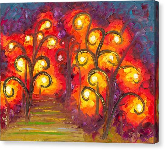 Canvas Print Featuring The Painting Forest Of Fire Orbs By Jessilyn Park