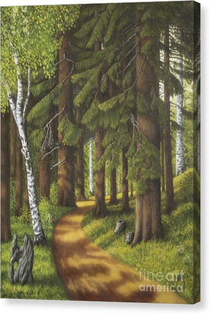 Mossy Forest Canvas Print - Forest Road by Veikko Suikkanen