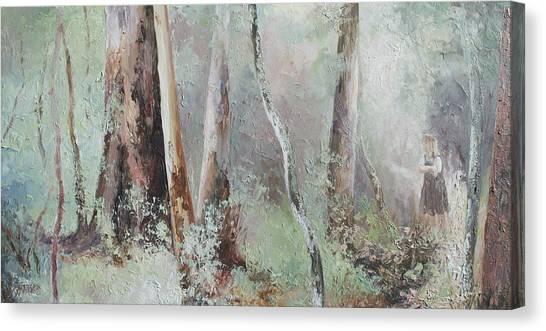 Girl In Landscape Canvas Print - Forest Walk by Jan Matson