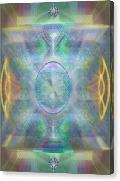 Forested Chalice In The Flower Of Life And Vortexes Canvas Print