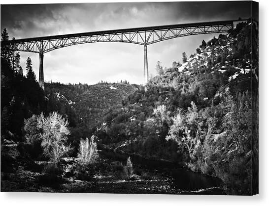Foresthill Bridge In The Snow 2 Canvas Print