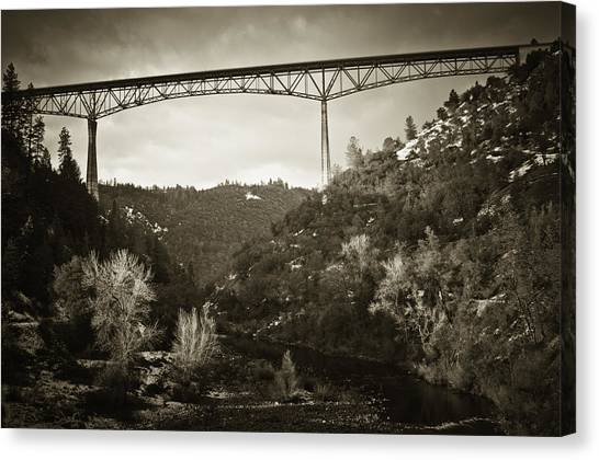 Foresthill Bridge In The Snow #3 Canvas Print