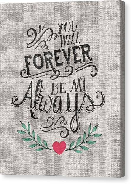Wedding Day Canvas Print - Forever My Always by Jo Moulton