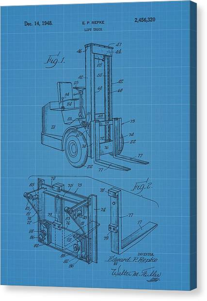 Workers Canvas Print - Forklift Blueprint Patent by Dan Sproul
