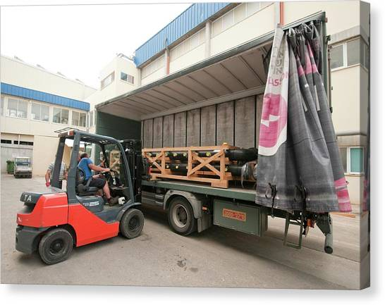 Forklifts Canvas Print - Forklift Loads A Truck by Photostock-israel/science Photo Library