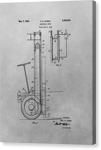Truck Driver Canvas Print - Forklift Patent Drawing by Dan Sproul