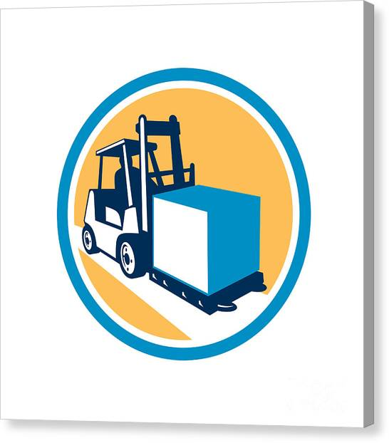 Forklifts Canvas Print - Forklift Truck Box Circle Retro by Aloysius Patrimonio