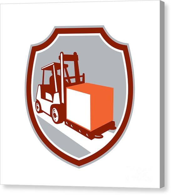 Forklifts Canvas Print - Forklift Truck Box Shield Retro by Aloysius Patrimonio