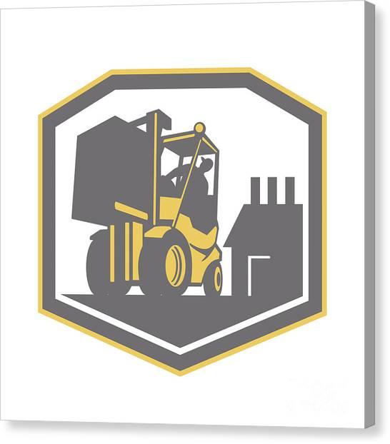 Forklifts Canvas Print - Forklift Truck Materials Handling Logistics Retro by Aloysius Patrimonio