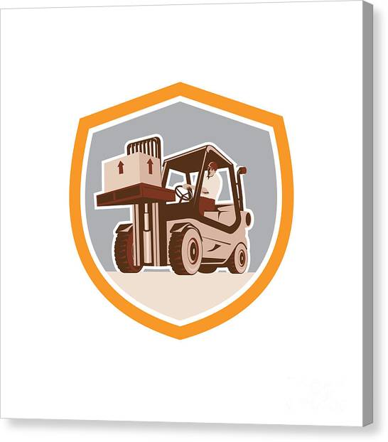 Forklifts Canvas Print - Forklift Truck Materials Handling Logistics Shield by Aloysius Patrimonio
