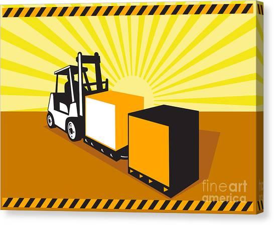 Forklifts Canvas Print - Forklift Truck Materials Handling Retro by Aloysius Patrimonio