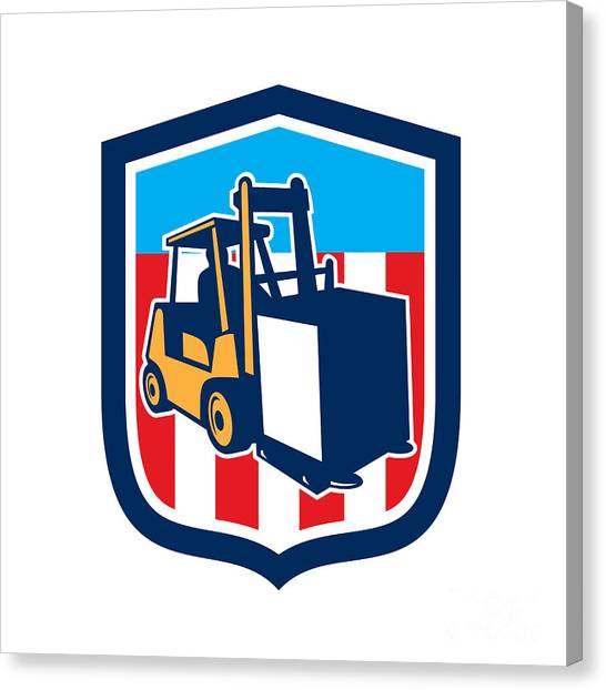 Forklifts Canvas Print - Forklift Truck Materials Logistics Shield Retro by Aloysius Patrimonio
