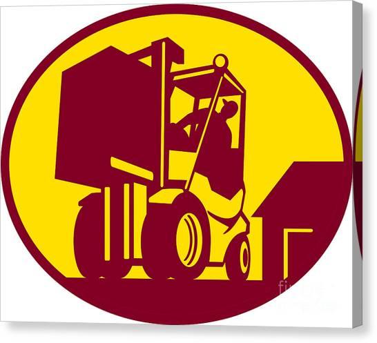 Forklifts Canvas Print - Forklift Truck Operator Retro by Aloysius Patrimonio