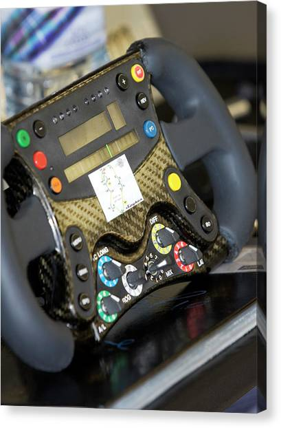 Cockpits Canvas Print - Formula One Car Steering Wheel by Gustoimages/science Photo Library