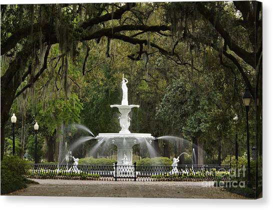 Overhang Canvas Print - Forsyth Park Fountain - D002615 by Daniel Dempster