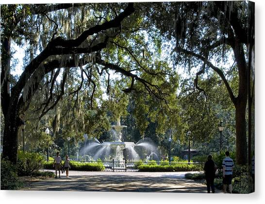 Girl Scouts Canvas Print - Forsythe Park by Diana Powell