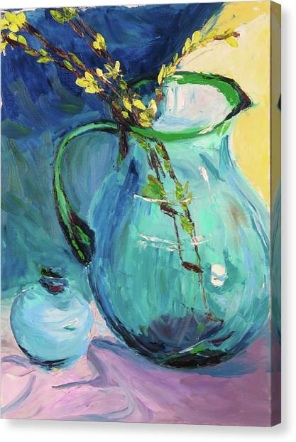 Forsythia In A Glass Jar Canvas Print