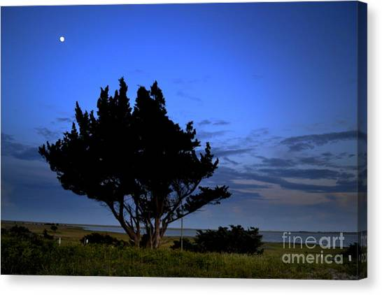 Fort Fisher Moonrise  Canvas Print
