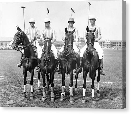 Polo Canvas Print - Fort Hamilton Polo Team by Underwood Archives