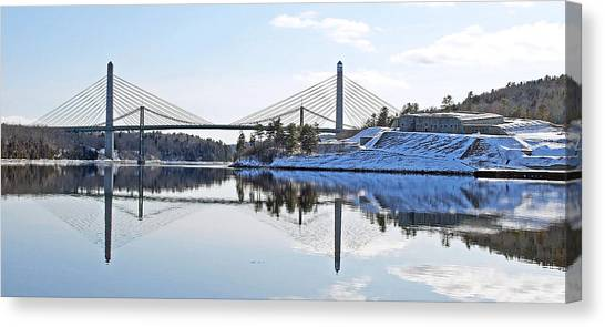 Fort Knox And Bridges Reflection In Winter Canvas Print