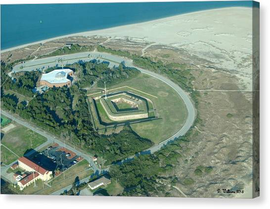 Fort Macon From The Air Canvas Print