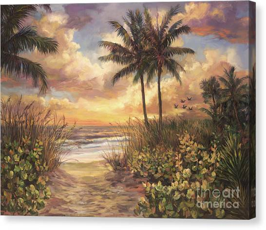 Beach Sunsets Canvas Print - Fort Myers Sunset by Laurie Hein