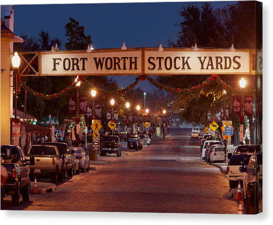 Fort Worth Stock Yards Night Canvas Print