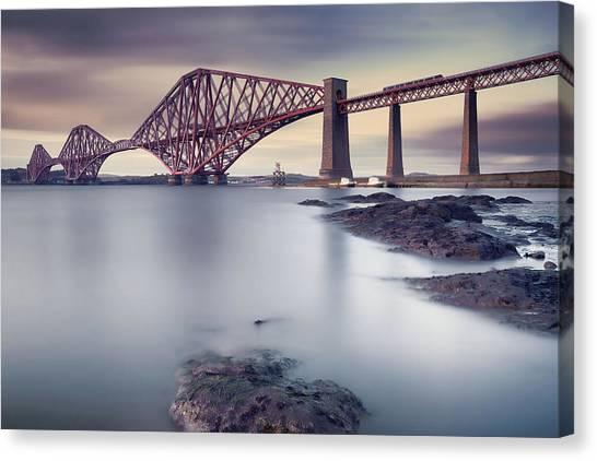 Railroads Canvas Print - Forth Rail Bridge by Martin Vlasko