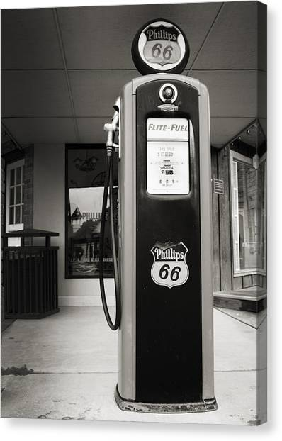 Historic Route 66 Canvas Print - Forty Cents A Gallon by Ricky Barnard