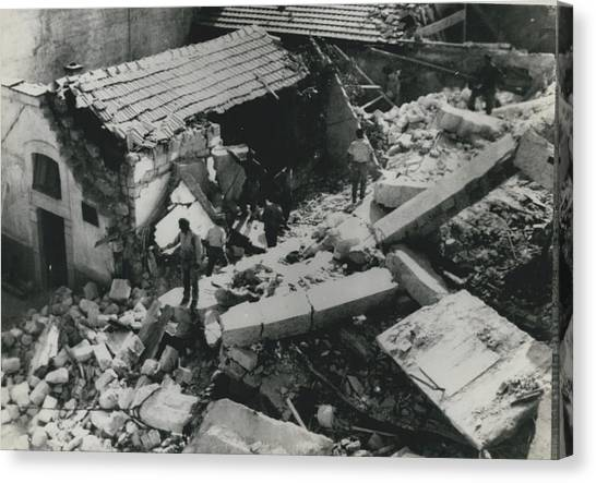 Forty Dead In Flats Collapse In Italy Canvas Print by Retro Images Archive