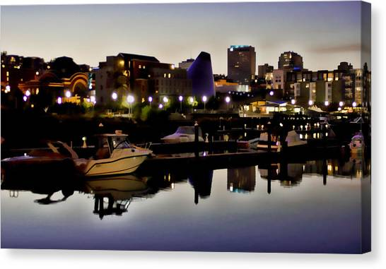 Foss Waterway At Night Canvas Print