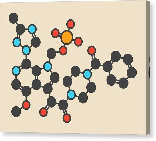 Fostemsavir Hiv Virus Drug Molecule Canvas Print by Molekuul