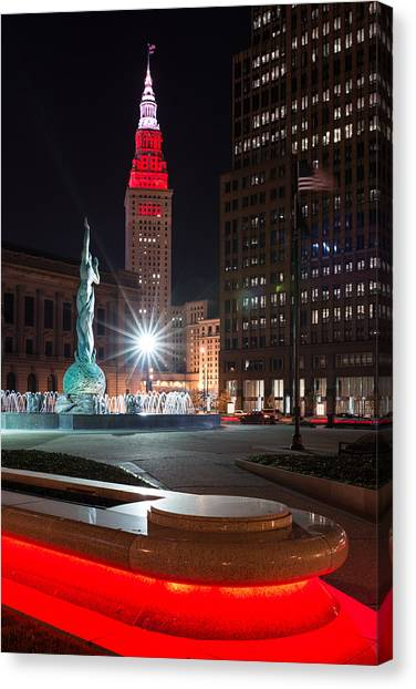 Fountain And Terminal Tower In Red Canvas Print